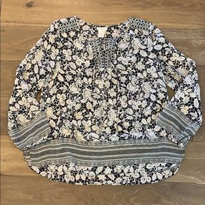 Sundance Embroidered Floral Blouse 100% Silk M